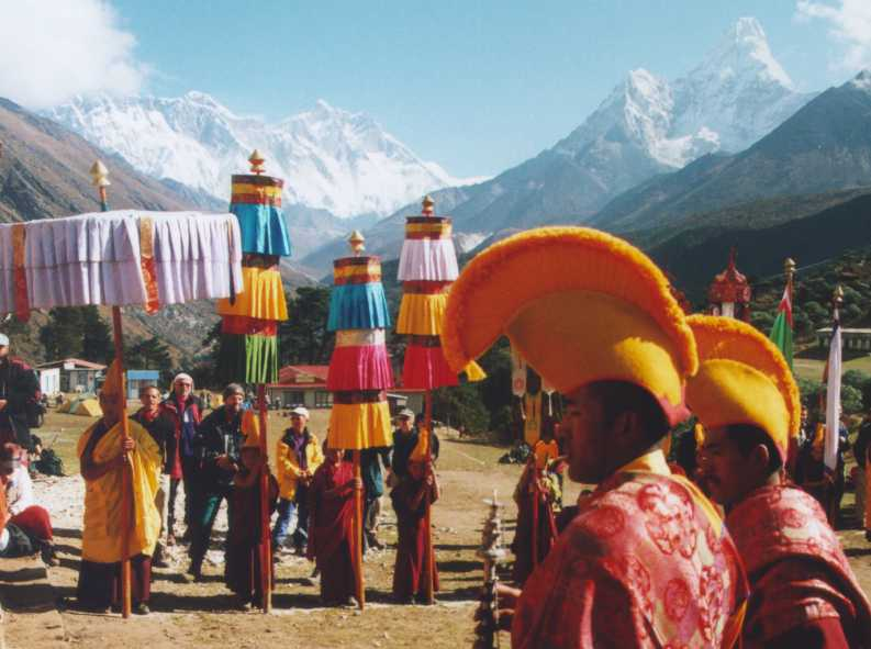 Welcome ceremony in Tengboche
